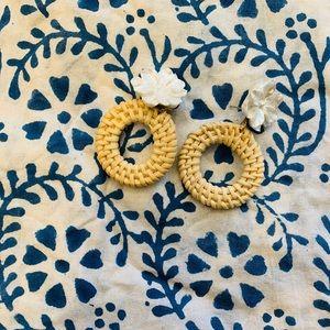 Pearl flower and woven raffia earrings